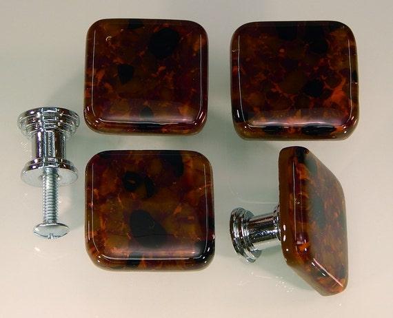 decorative colored art fused glass cabinet door knobs drawer pulls kitchen hardware brown. Black Bedroom Furniture Sets. Home Design Ideas