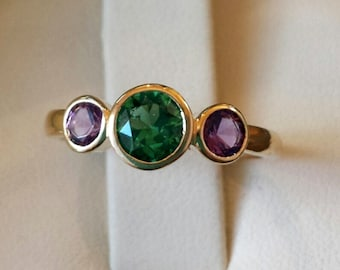 Three stone, bezel set, low profile, gold ring mounting, Maine tourmaline, Maine Amethyst, original design, made in Maine
