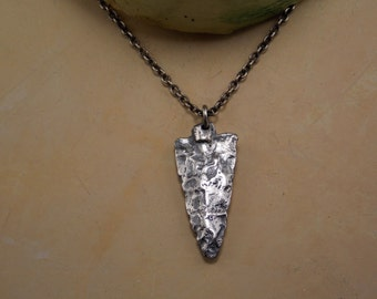 Antiqued Fine Silver Arrowhead Necklace with Antiqued Silver Chain