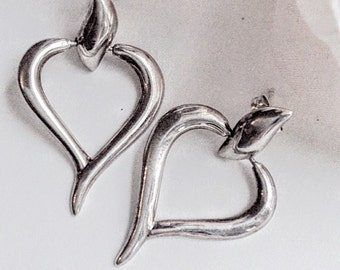 Sterling Silver Heart Earrings, Silver Heart Earrings, Vintage  Jewelry, Drop Heart  Earring, Pierced Heart Earrings, Sweetheart Earrings,