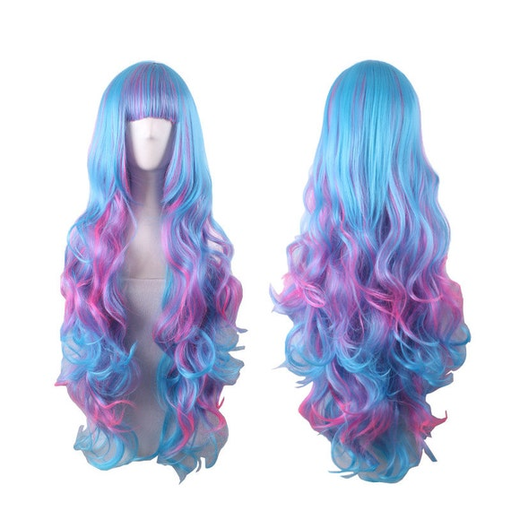 Ombre Wig Anime Wigs Light Purple Pink Blue Color Air Volume High ...