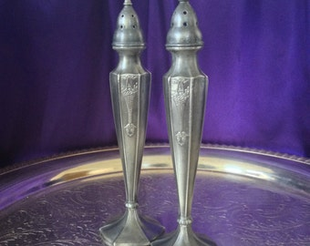 Pewter Salt and Pepper Shakers, Art Nouveau Design, Quaker Shakers, Arcadia 507, Vintage Table Decor, Collectible Pewter