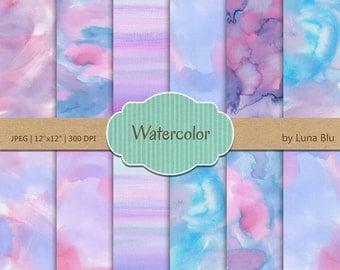"Watercolor Digital Paper: ""Watercolor Backgrounds"" pastel colors,textured digital paper, watercolor textures, scrapbooking paper"