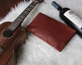 Leather Clutch, Leather Handbag, Leather Pouch, Red Soft Leather