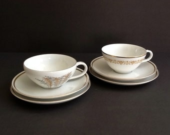 Mismatched Tea Set, Set of 2, White Tea Cups and Dessert Plates with Gold Trim, Sheffield Imperial Gold, Fukagawa Gold Bamboo