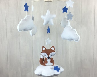 Baby mobile - fox mobile - crib mobile - star mobile - cloud mobile - fox nursery - fox decor