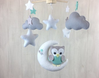 Baby mobile - owl mobile - moon mobile - cloud mobile - gender neutral mobile - star mobile