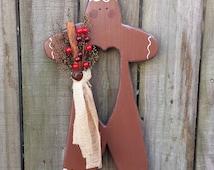 Handmade Primitive Wood Gingerbread Man Wall Hanging