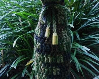 camo wine bottle cover, crochet drawstring beverage holder, camouflage gift bag for hunters, military veterans, sports, empty bullet shells