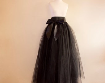 Ladies black tulle skirt, made to measure any size
