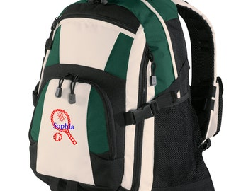 Personalized Backpack Embroidered Back Pack Custom Backpack - Sports - Tennis - BG77