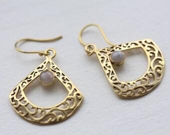 Tribal Earrings, Brass Earring, Moonstone Earring, Brass boho earrings, indian style, gypsy earrings, Moonstone rainbow Brass Earrings