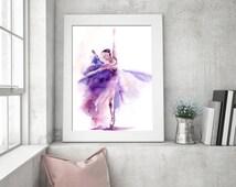Ballerina Watercolor Print, Watercolor Painting Art Print, Ballet Painting, Modern Wall art, Purple Painting