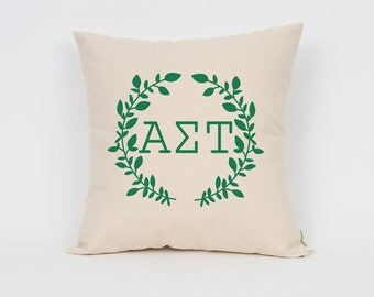 Alpha Sigma Tau Wreath Pillow // Choose Your Ink Color // Greek Letter Pillows // Sorority Pillow // Big Little Gift // Sorority Letters