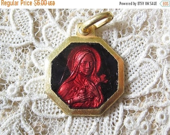 CLEARANCE SALE Vintage Red Enamel St Therese Gold Plated Medal M947