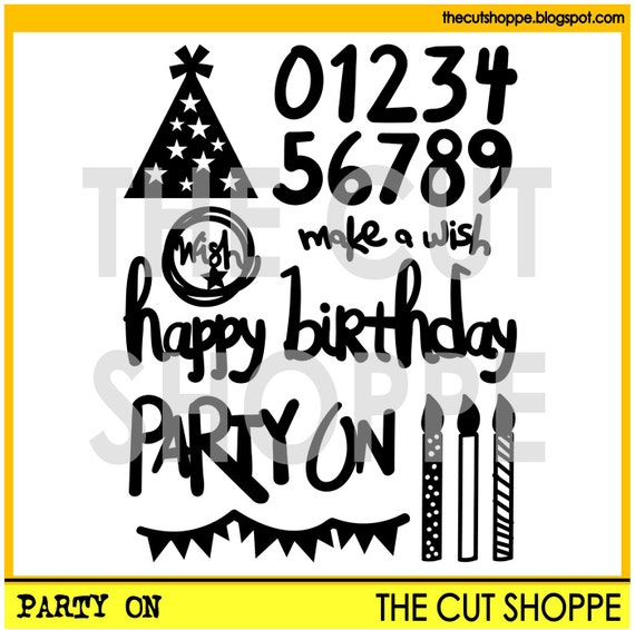 The Party On cut file set, includes 8 birthday themed icons, that can be used for your scrapbooking and papercrafting projects.