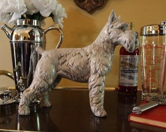 Large Ceramic Schnauzer Dog, Vintage Ceramic Schnauzer Dog, Large Dog Figurine, Large Dog Statue, Grey Ceramic Schnauzer