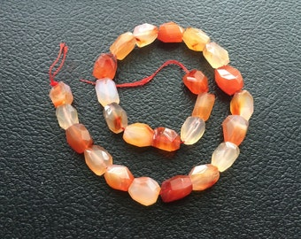 Full Strand Natural Carnelian Faceted Nugget Beads