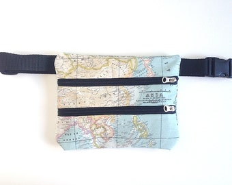 Fanny Pack, map, bag fabric, fabric mapamundi, cloth map, cartography, Fanny Pack travel, world, trip, Fanny mapamundi, Fanny Pack map