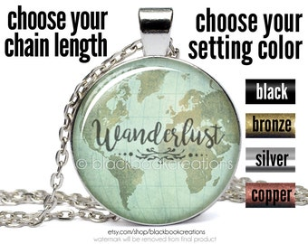 Wanderlust Necklace, Wanderlust Pendant, Wanderlust Jewelry, Wanderlust Map Necklace, Bohemian