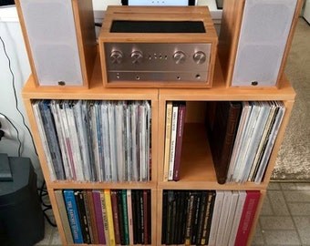 vinyl record storage cube stackable lp record album storage shelf natural fits 70 records