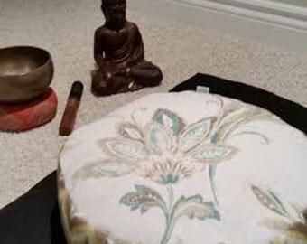 Meditation Cushion-Pretty Posy with Chevron Side Panel-Zafu