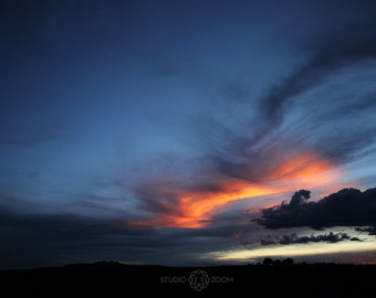 Sunset in New Mexico Landscape Photography Print, Southwestern Wall Art, Fire in the sky, Atmospheric Home Decor