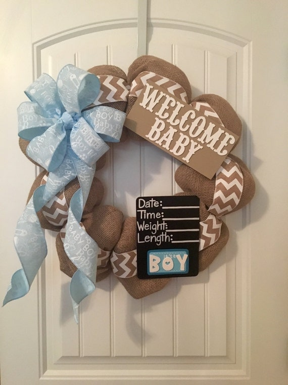 Gender Neutral Burlap Chevron Baby Wreath By Bayouburlapandbling
