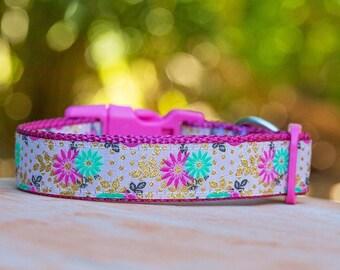 Pink Floral Dog Collar / Gold Dog Collar / Dog Collars Australia