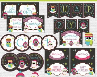Winter wonderland birthday decoration package with owls - Printable - Girl birthday theme