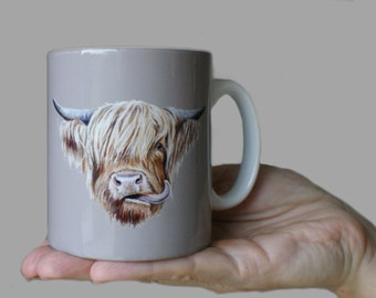 Scottish Highland Cow Ceramic Art Mug