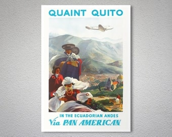 The Ecuadorian Andes via Pan American - Airline Travel Poster - Poster Print, Sticker or Canvas Print