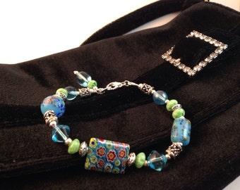 Aqua and green glass beaded bracelet