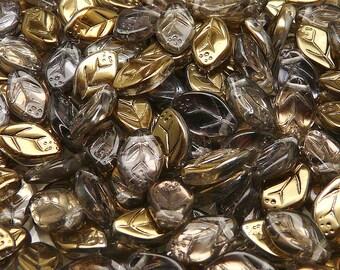 25pcs Czech Pressed Glass Leaf Beads 7x12mm Crystal Valentinite