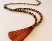 Tassel Necklace, Rust Terra Cotta Beaded Tassel, Long Boho Becklace, Earth Jasper, Brown, rust Silk Tassel Necklace, Tibetan Necklace