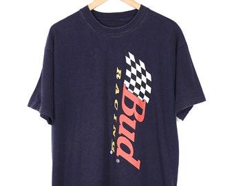 Vintage 90s Budweiser T-shirt - 90s Bud Racing Navy Blue T-shirt - 1996 Normcore Grunge Bud Racing T-shirt