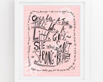 Girls artwork, Quotes for nursery, Little girl wall decor, Wall art for girls room, Pink art print, Girl nursery art, 11x14 PRINT 201a