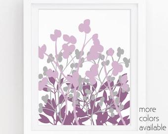 Purple Wall Decor Purple And Gray Purple Flowers Floral Art Print Lavender
