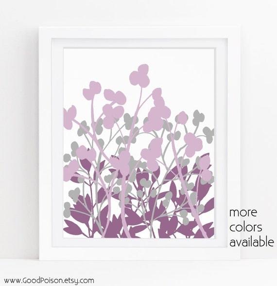 purple wall decor purple and gray purple flowers floral art. Black Bedroom Furniture Sets. Home Design Ideas