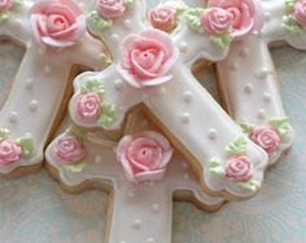 12 Rose Baptism Cross Sugar Cookies, Baptism Cookies, Hand Decorated Sugar Cookies, Handmade Cookies, Girls Baptism, cross cookie
