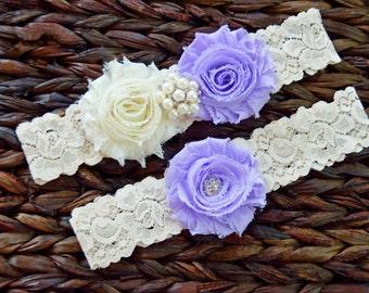 Rustic Garter Set, Ivory Wedding Garter Set, Rustic Wedding, Lace Bridal Garter, Rustic Wedding Garter Set-Style 115