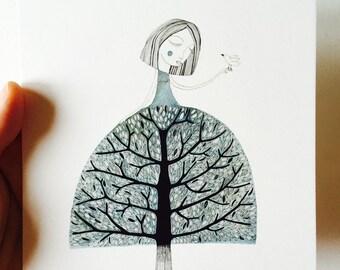Card tree woman
