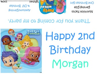 Bubble Guppies Candy Bar Wrappers/Birthday Party Favors
