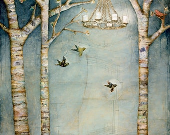 Birds in a meadow with chandelier - print