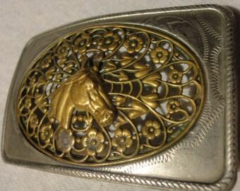 Vintage Western Horse Head /Flower Belt Buckle