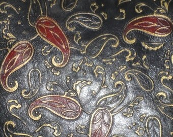 Black Suede Fringed Paisley Pillow