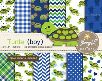 Turtle Boy Digital Papers and Cliparts, Blue Green Turtle for Digital Scrapbooking, Birthday Party, Invitations, Planners