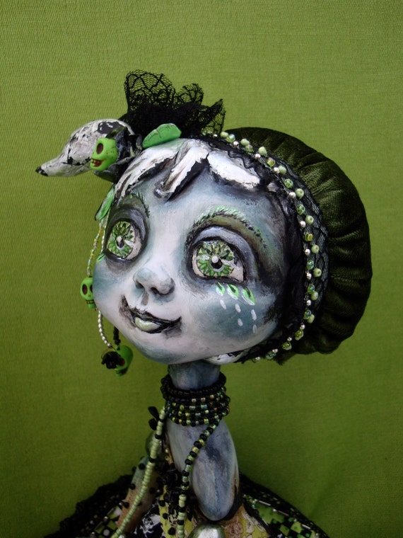 Gothic doll black and green - Whimsical big-eyed girl - Green spring gothic doll - Art figurine as unique gift for gothic lover