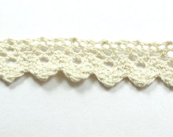 10 Meters Cream Cotton Lace With Wavy Shape, Lace Trim, Lace For Sewing, Vintage Knitted Lace  15mm