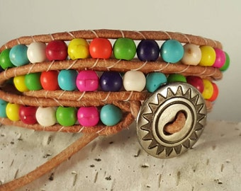 Southwestern Flair Double Wrap Bracelet.